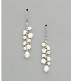 Sterling Silver Freshwater Pearl Dangle Earrings - White
