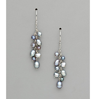 Sterling Silver Freshwater Pearl Dangle Earrings - Gray