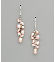 Sterling Silver Freshwater Pearl Dangle Earrings - Champagne