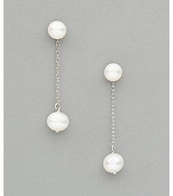 Sterling Silver Freshwater Pearl Interchangable Drop Earrings - White