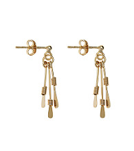 Gold Plate over Sterling Silver Multi Paddle Drop Earring