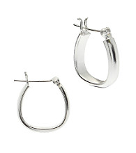 Sterling Silver 15MM Oval Tupe Hoop