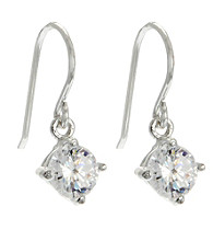 Sterling Silver with 5MM Round Clear CZ Drop Earring