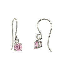 Sterling Silver with 5MM Round Pink CZ Drop Earring