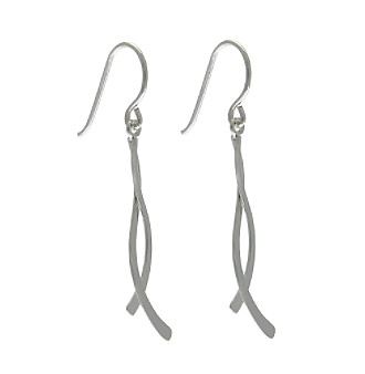Sterling Silver Small Double Curve Drop Earring