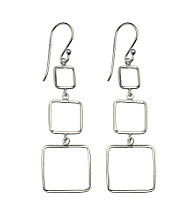 Sterling Silver 3 Graduated Squares Drop Earring