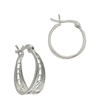 Sterling Silver Round Filigree Hoop