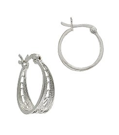 Designs by FMC Sterling Silver Round Filigree Hoop Earrings