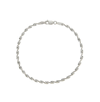 "Sterling Silver 8"" Twist Chain Bracelet"