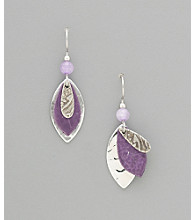 Silver Forest® Purple Leaf & Silvertone Earrings