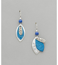 Silver Forest® Blue Leaf and Silvertone Earrings