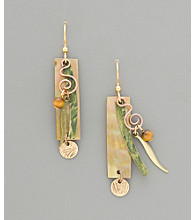 Silver Forest® Retangle Natural Shell & Dangle Earrings