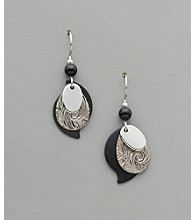 Silver Forest® Black & Silvertone Paisley Earrings
