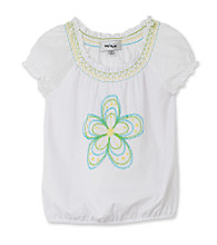 Amy Byer Girls' 4-6X Flower Peasant Top - White
