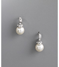 Studio Works® 8mm Pearl Half Hoop Earrings - White