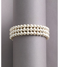Studio Works® White Pearl Three Row Stretch Bracelet