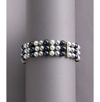 Studio Works® Tonal Grey Pearl Three Row Stretch Bracelet