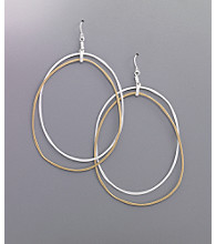 Jessica Simpson Oversized 2 Ring Orbital Drop Hoop Earrings - Silvertone/Goldtone