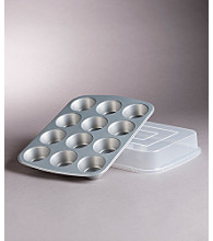 LivingQuarters 12-Cup Muffin Pan with Deep Plastic Cover