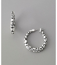 Napier® Casual Textured Pierced Hoop Earrings - Silvertone