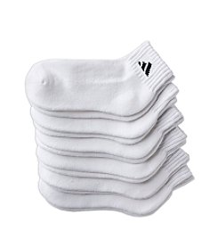 adidas® Boys' White 6-pk. Logo Quarter Socks