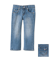 Little Miss Attitude Girls' 2T-6X Stretch Denim Jeans - Medium Wash