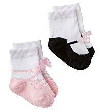 Cuddle Bear® Baby Girls' Pink/Black 2-pk. Maryjane Booties