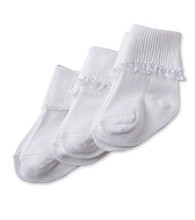 Cuddle Bear Baby Girls' 3-Pack Lace Sock - White