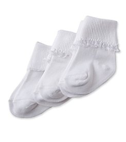 Cuddle Bear® Baby Girls' 3-Pack Lace Sock - White