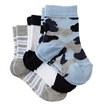 Cuddle Bear Baby Boys' 3-Pack Pattern Booties - Blue Camo