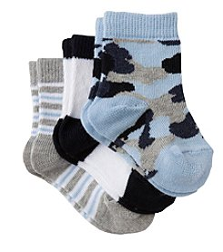 Cuddle Bear® Baby Boys' 3-Pack Pattern Booties - Blue Camo
