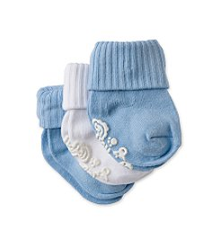 Cuddle Bear® Baby Boys' Blue/White 3-pk. Gripper Booties