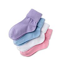 Miss Attitude Girls' 4-Pack Turn Cuff Sock - Pastel Combo
