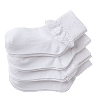 Miss Attitude Girls' 4-Pack Lace Sock - White