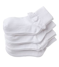 Miss Attitude Girls' 4-Pack Lace White Socks
