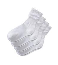 Miss Attitude Girls' 4-Pack Triple Roll Sock - White