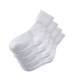 Miss Attitude Girls' 4-Pack Triple Roll Sock - White