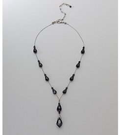 Social Occasion Y-Necklace with Teardrops - Jet