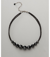 Social Occasion Seed and Faceted Bead Necklace - Jet