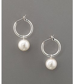 Studio Works® Pearl Click-It Hoop Drop Earrings - White