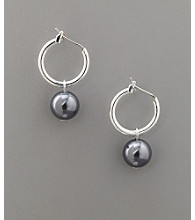 Studio Works® Pearl Click-It Hoop Drop Earrings - Dark Gray