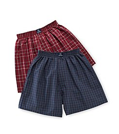 Jockey Boys' Navy/Red 2-pk. Plaid Woven Boxers