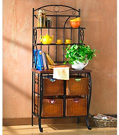 Holly & Martin™ Iron & Wicker Baker's Rack