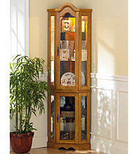 Holly & Martin™ Riley Lighted Corner Curio Cabinet - Golden Oak