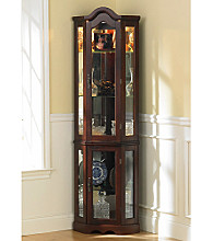 Holly & Martin™ Riley Lighted Corner Curio Cabinet - Mahogany