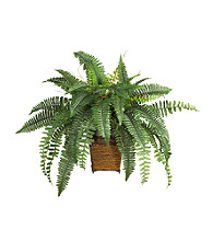 Nearly Natural® Boston Fern with Wicker Basket Silk Plant