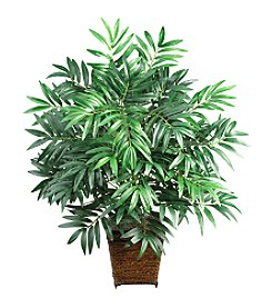 Nearly Natural® Bamboo Palm with Wicker Basket Silk Plant