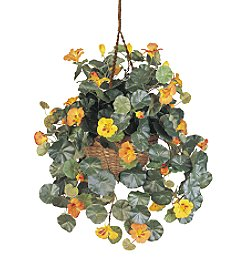 Nearly Natural® Nasturtium Hanging Basket Silk Plant
