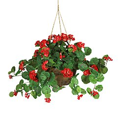 Nearly Natural® Geranium Hanging Basket Silk Plant