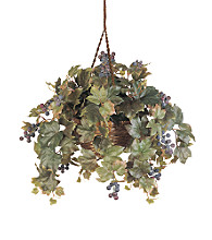 Nearly Natural® Grape Leaf Hanging Basket Silk Plant